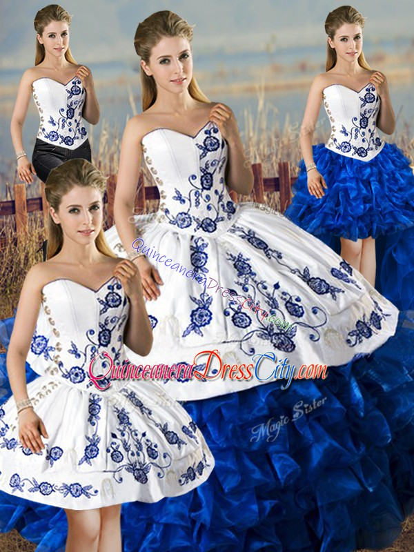 Removable 4 Pieces Embroidery Quinceanera Dress Royal Blue And White Satin and Organza