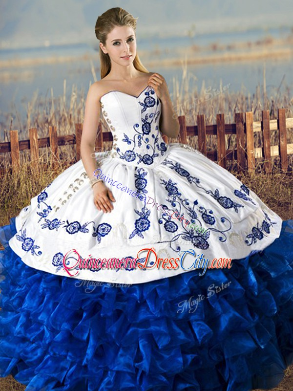 Removable 4 Pieces Embroidery Quinceanera Dress Royal Blue And White Satin