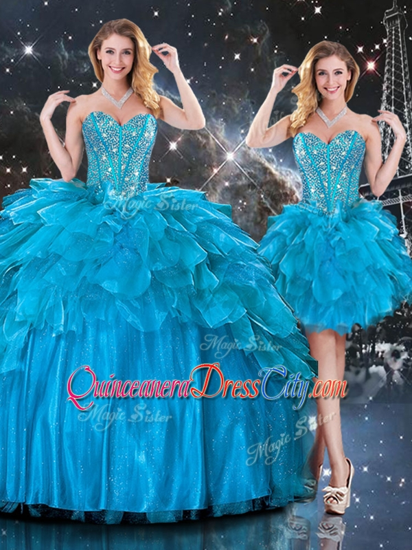 Detachable Three Pieces Beaded Bodice Quinceanera Dress with Puffy Bottoms