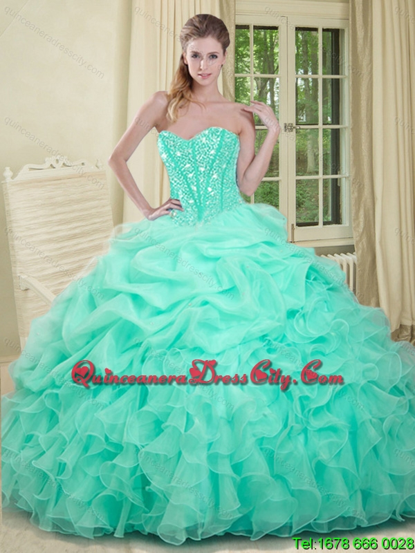 Elegant Mint Green Quinceanera Dress Beaded Top and Ruffled Bottom