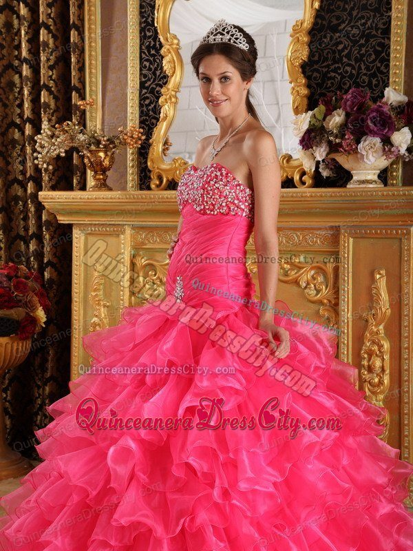 Beaded Bust Mermaid Fitted Quinceanera Dress with Puffy Ruffles Skirt