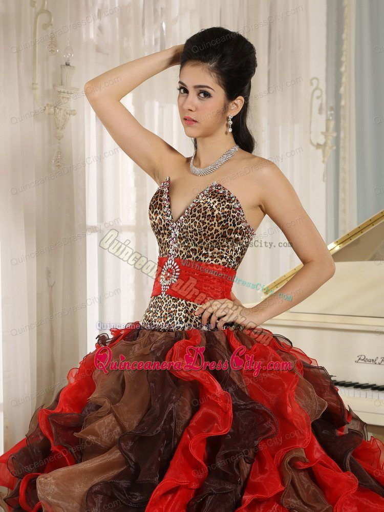 Multi-layer Leopard Printed Small V Shape Neck Ruffled Quinceanera Dress with Belt