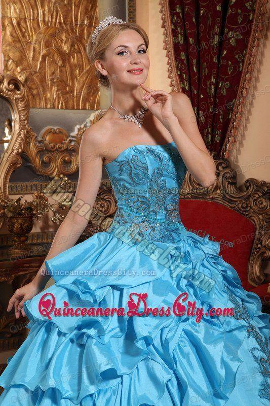 Beautiful Appliqued and Ruffled Taffeta Quinceanera Dress Aqua Color Ball Gown