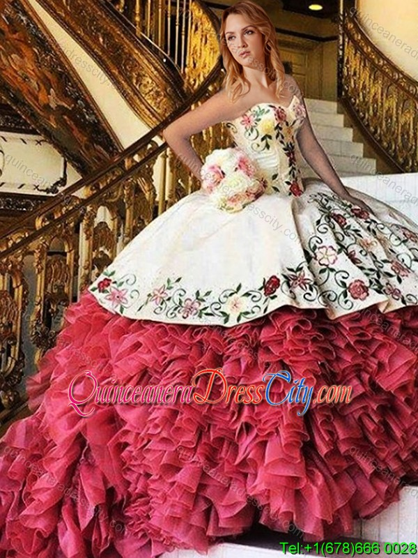 Cheap Mariachi Embroideried Red And White Quinceanera Dress With Train