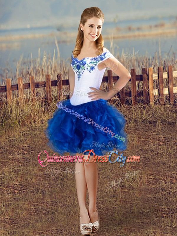Sleeveless Floor Length Embroidery Lace Up 15 Quinceanera Dress with Blue And White