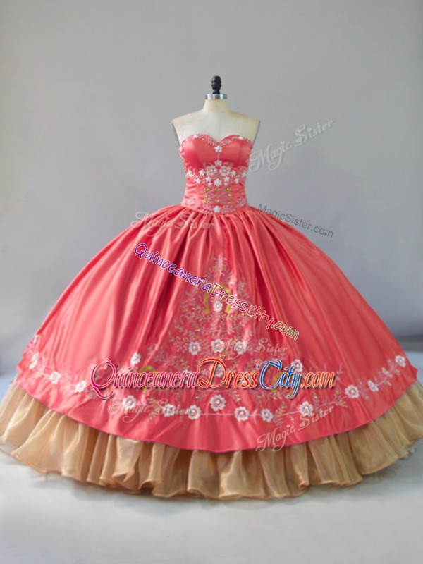 watermelon color quinceanera dress,shoulder embroidery folk quinceanera dress,quinceanera dress with floral embroidery,organza satin quinceanera dress,sweetheart quinceanera dress,sweetheart neckline quinceanera dress,wholesale quinceanera dress from china,