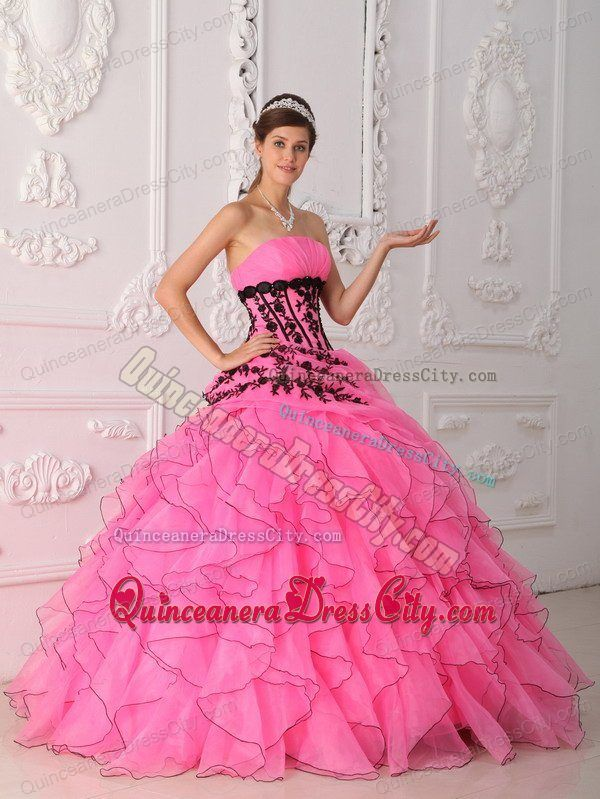 Pink Organza Quinceanera Dress with Ruffles And Black Appliques