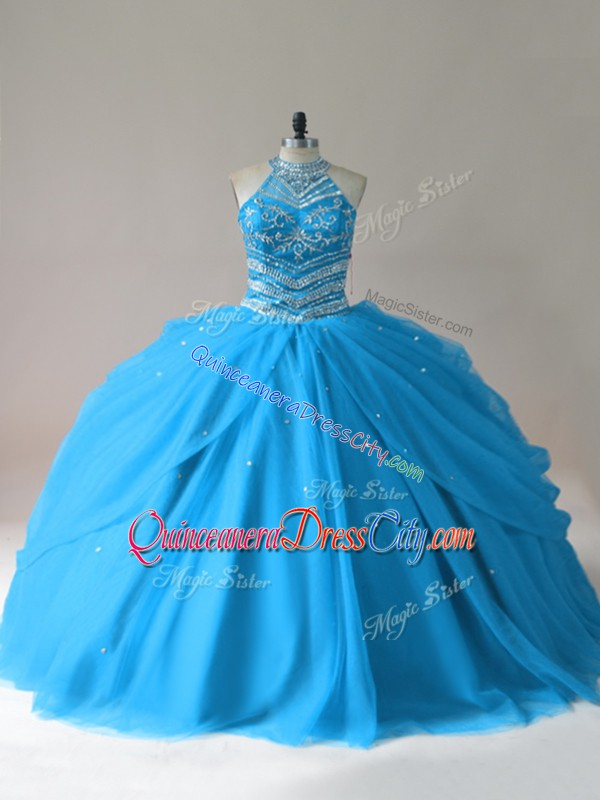 cheap price quinceanera dress,really cheap quinceanera dress,under 200 dollars quinceanera dress,halter quinceanera dress,halter neckline quinceanera dress,crystal beaded quinceanera dress,corset style quinceanera dress,tulle skirt quinceanera dress,turquoise quinceanera dress,blue turquoise quinceanera dress,