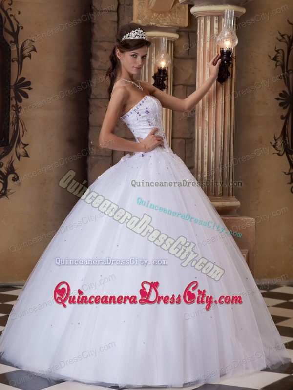 White Strapless Quinceanera Gowns with Embroidery and Beading