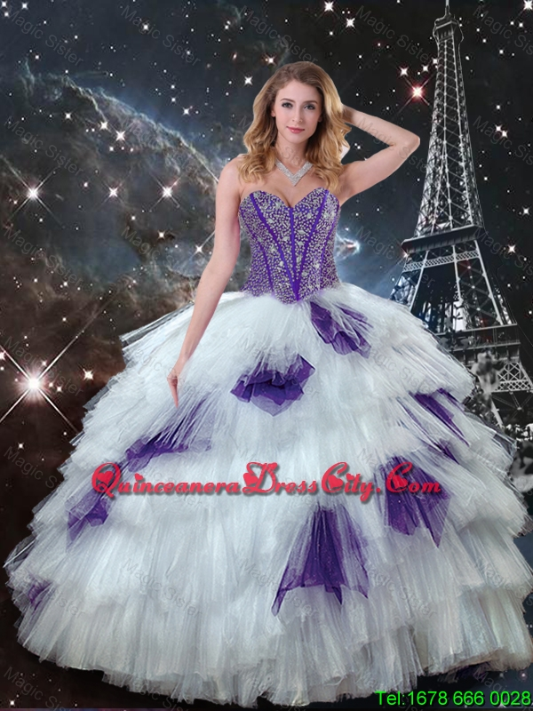 Fall Exquisite Sweetheart Beaded Quinceanera Dresses in White and Purple