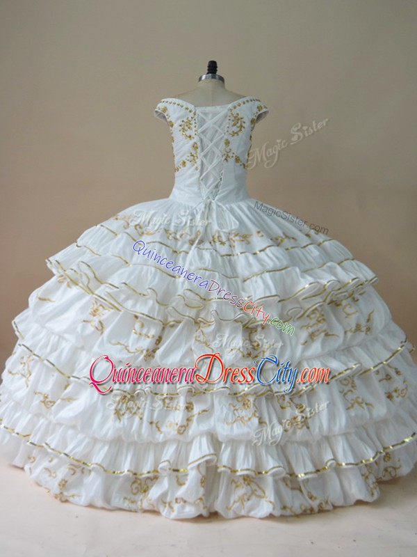 cheap quinceanera dress white,why are quinceanera dress white,white mexican style quinceanera dress,white with gold quinceanera dress,taffeta quinceanera dress,taffeta ruffle sweetheart floor length quinceanera prom dress,ruffled charro quinceanera dress,quinceanera dress with ruffles,off shoulder embroidery quinceanera dress,gold embroidery quinceanera dress,most popular quinceanera dress,