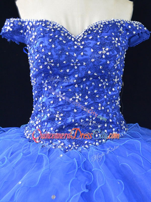 Eye-catching Blue Off The Shoulder Lace Up Beading and Ruffles Quinceanera Dresses Sleeveless