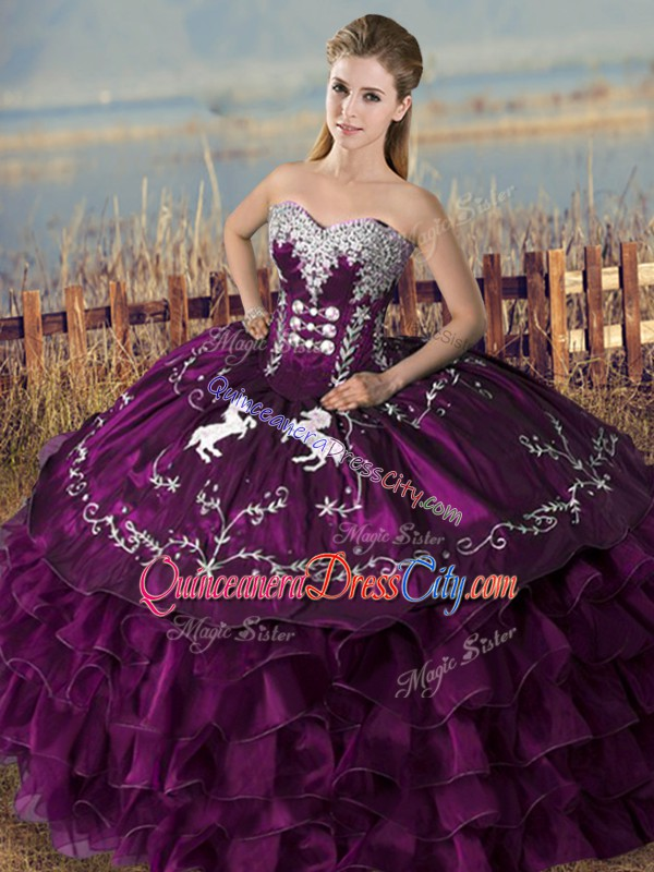 Purple Sweet 16 Quinceanera Dress Sweet 16 and Quinceanera with Embroidery and Ruffles Sweetheart Sleeveless Lace Up