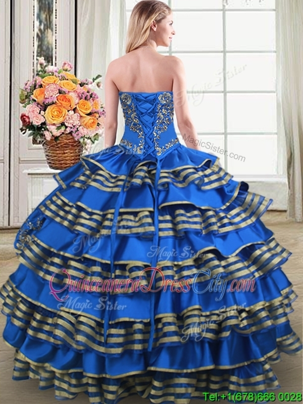 Fashionable Taffeta Blue Quinceanera Dress with Embroidery and Ruffled Layers
