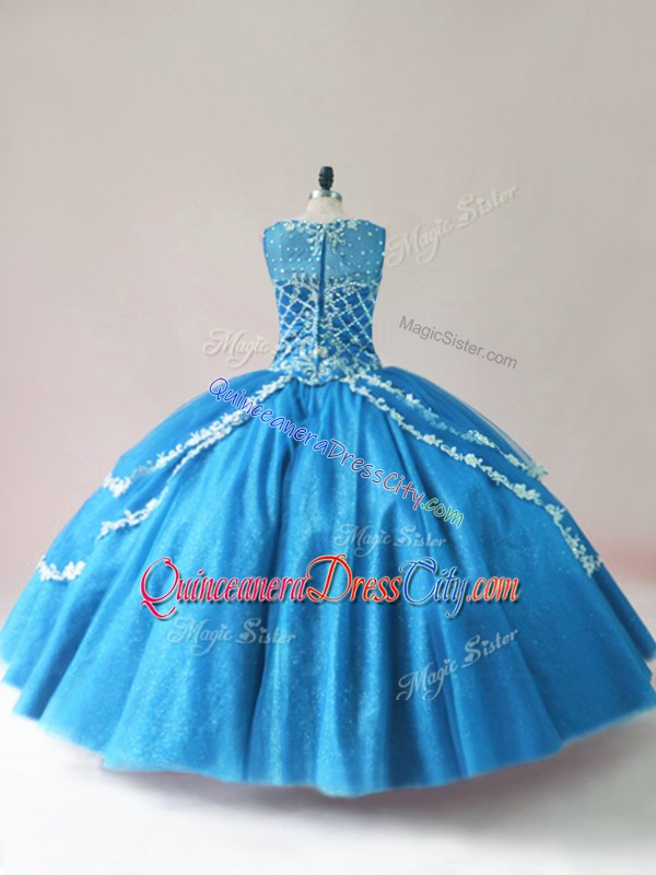 New Style Beading and Appliques 15 Quinceanera Dress Baby Blue Lace Up Sleeveless Floor Length