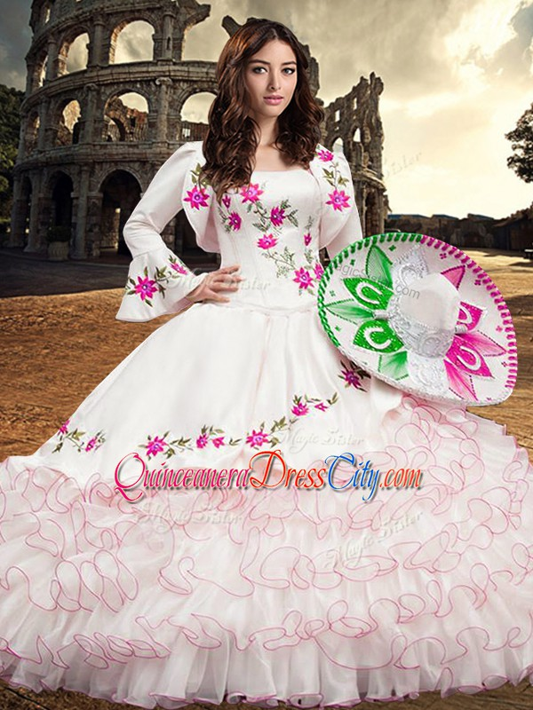 Cheap Long Sleeves Embroidery and Ruffled Layers Lace Up 15 Quinceanera Dress