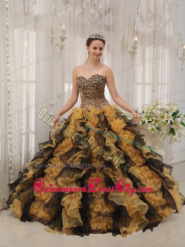 Leopard Print Sweetheart Quinceanera Gown Dress with Ruffled Layers