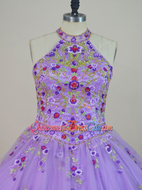 lavender quinceanera dress,cheap lavender quinceanera dress,halter tops quinceanera dress,floral embroidered quinceanera dress,tulle quinceanera dress with embroidery and beading,short with train quinceanera dress,free shipping quinceanera dress,