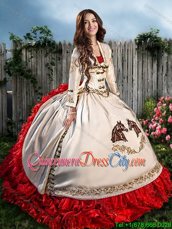 Gorgeous Embroideried and Ruffled Beaded Quinceanera Dress with Brush Train