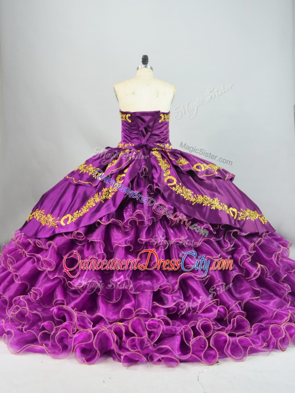 Purple Lace Up Sweetheart Embroidery and Ruffles 15 Quinceanera Dress Satin and Organza Sleeveless Brush Train