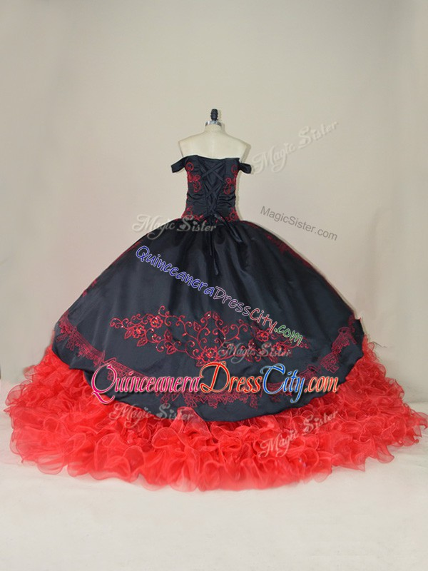 charro collection quinceanera dress,charro quinceanera dress boutique,off shoulder embroidery folk quinceanera dress,ruffles quinceanera dress,black and red quinceanera dress,red and black dress for sweet 16,do quinceanera dress have trains,off the shoulder quinceanera dress,off the shoulder dress sweet 16,organza satin quinceanera dress,