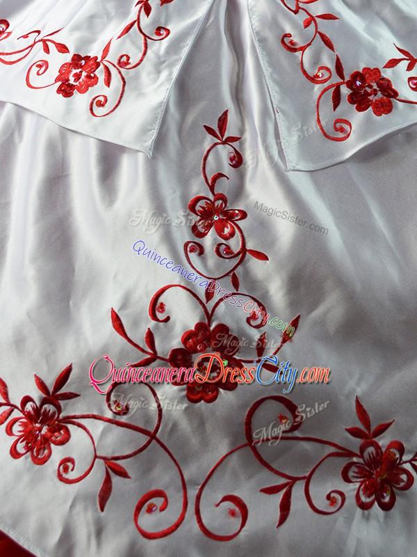 cowgirl quinceanera dress,charro quinceanera dress white and red,red rose and white quinceanera dress,white with red quinceanera dress,flower embroidered quinceanera dress,floral embroidered quinceanera dress,lace up quinceanera dress,sweetheart quinceanera dress,