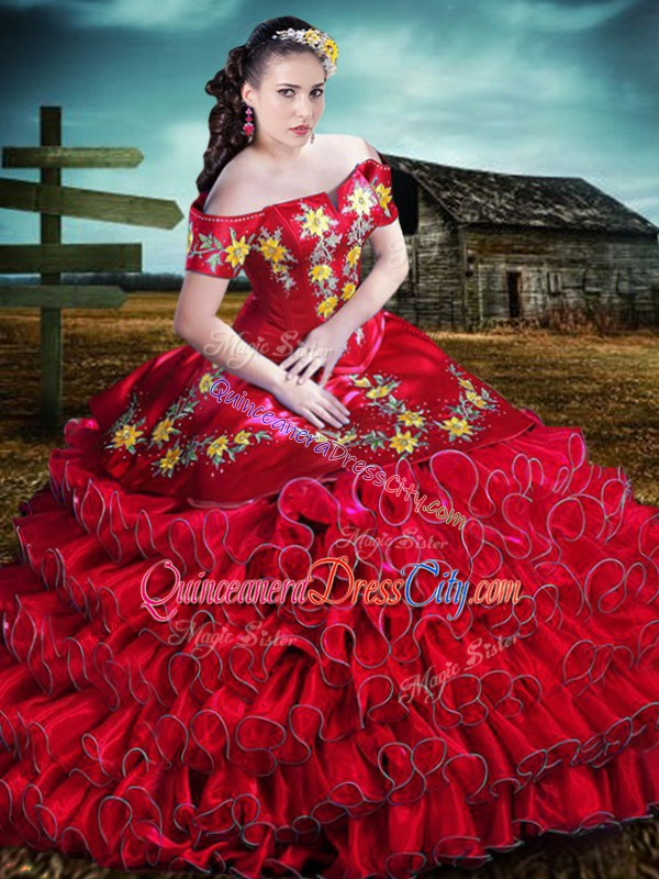 yellow embroidered quinceanera dress,floral embroidered quinceanera dress,mexican embroidered quinceanera dress,red quinceanera dress off the shoulder,off shoulder quinceanera dress,floral quinceanera dress,quinceanera dress with floral embroidery,red ruffled quinceanera dress,