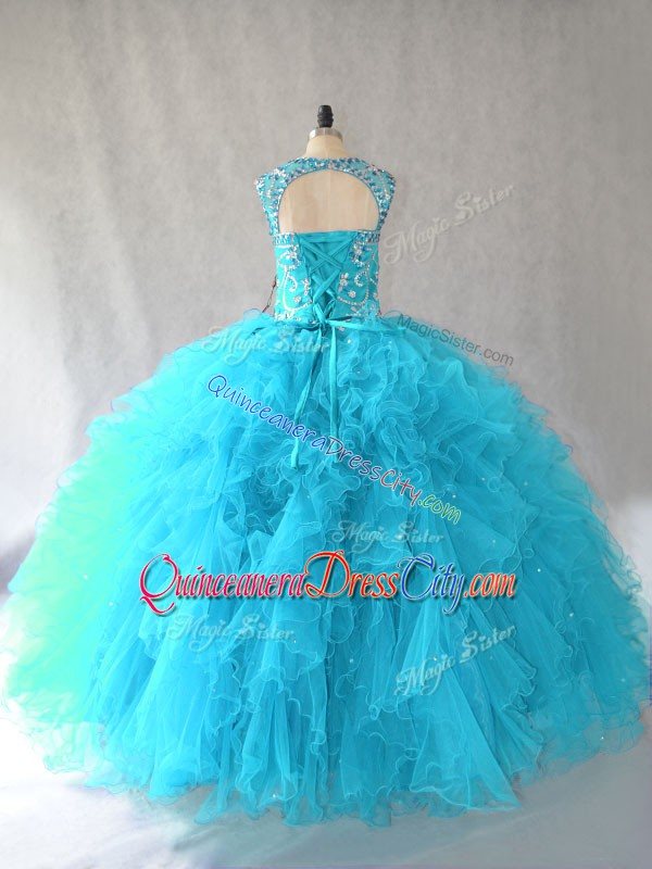 Scoop Sleeveless Tulle Sweet 16 Quinceanera Dress Beading and Ruffles Lace Up