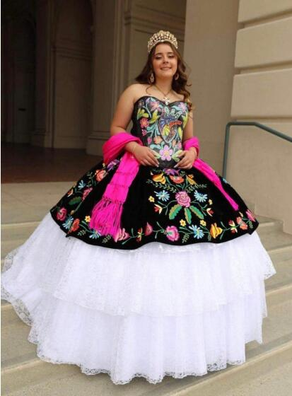white and black quinceanera dress,mexican quinceanera dress wholesale,mexican themed quinceanera dress,traditional mexican quinceanera dress,quinceanera dress with floral embroidery,