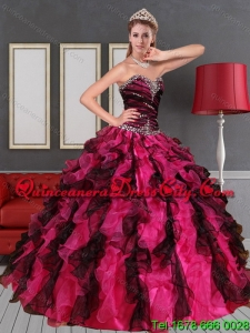 Beautiful Two Tone Multi Color Ruffles Quinceanera Dress with Beading Fuchisa and Black
