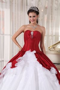 Cheap Simple Ruffled Red and White Ball Gown Quinceanera Dress Online Sale