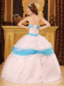 Affordable White And Aqua Blue Organza Appliques Quinceanera Gown with Pick Ups