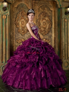 Eggplant Purple Big Bottom Strapless Organza Ruffles Quinceanera Dress under 200
