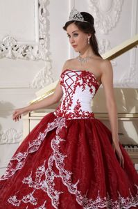 Simple Ball Gown Organza Burgundy and White Quinceanera Dress with Floral Appliques