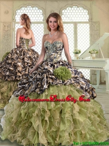 Beautiful Camo Quinceanera Dress Pick Ups Camouflage Ball Gown with Jacket