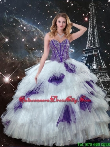 Beautiful Beaded Bodice White and Purple Quinceanera Dress Puffy Tulle Skirt