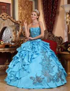 Beautiful Appliqued and Ruffled Taffeta Quinceanera Dress Aqua Color Ball Gown