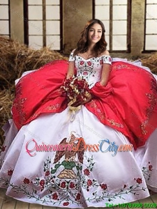 Mexican Floral Embroideried Eagle White and Red Quinceanera Dress with Hawk