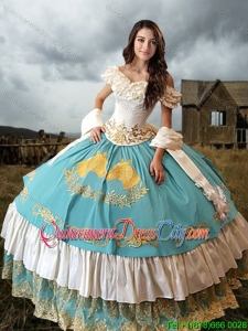 Traditional Mecican Themed Laced Embroideried Blue and White Quinceanera Dress with Horse Patterns