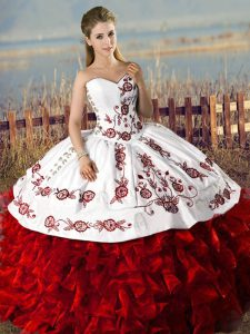 Embroidery and Ruffles Sweetheart Quince Dress White And Red with Buttons
