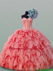 Perfect Watermelon Pink Beaded Crystal Bodice Quinceanera Dress with Puffy Skirts