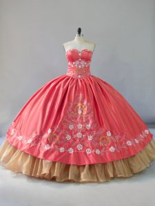 Watermelon Red and Gold Embroidery Sweetheart Quinceanera Dress Satin and Organza