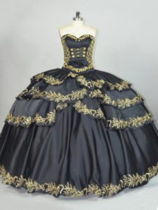 Black Satin Mexican Themed Quinceanera Dress with Gold Embroidery