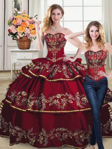 Detachable Two Pieces Burgundy Quinceanera Dress with Golden Embroidery