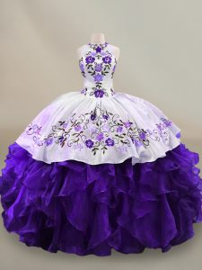 White And Purple Floral Charro Embroidery Halter Quinceanera Dress Organza Ruffles