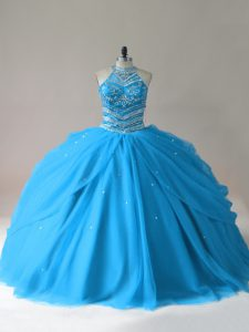 Cheap Halter Neckline Beaded Corset Tulle Skirt Quinceanera Dress Turquoise