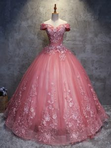 Cheap Simple Pink Off Shoulder Quinceanera Dress with Lace 3D Flowers Under 200