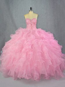 Puffy Pink Ball Gown Ruffled Quinceanera Dress without Train