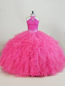 Big Puffy Hot Pink Halter Cutout Neckline Quinceanera Dress Ruffles