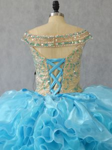 Nude Like Beaded Bodice Aqua Quinceanera Dress Organza Ruffles